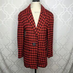 Vtg Rafaella Wool Houndstooth Oversized Blazer